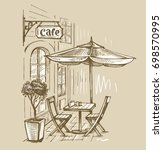 street cafe in old town vector... | Shutterstock .eps vector #698570995