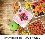 vegetarian meal   oatmeal with... | Shutterstock . vector #698573212
