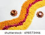 decorative flower rangoli strip ... | Shutterstock . vector #698573446
