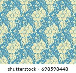 seamless floral damask pattern | Shutterstock .eps vector #698598448