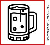 beer glass icon  in flat line   ... | Shutterstock .eps vector #698606782