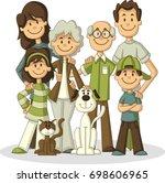 colorful happy cartoon people.... | Shutterstock .eps vector #698606965