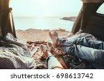 man and woman relaxing inside... | Shutterstock . vector #698613742