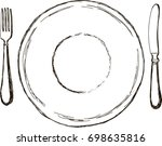 plate  fork and knife isolated... | Shutterstock .eps vector #698635816