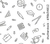 school pattern  thin monochrome ... | Shutterstock .eps vector #698654812