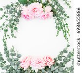 floral frame with pink roses... | Shutterstock . vector #698655886