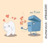 dental floss gives flowers to a ...   Shutterstock .eps vector #698668285