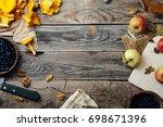 forest harvest  blueberry ... | Shutterstock . vector #698671396