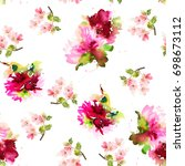 seamless summer pattern with... | Shutterstock . vector #698673112