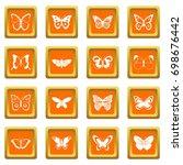 butterfly icons set in orange...   Shutterstock .eps vector #698676442