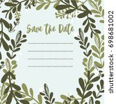 cute floral wedding invitation  | Shutterstock .eps vector #698681002