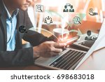 businessmen working on mobile... | Shutterstock . vector #698683018