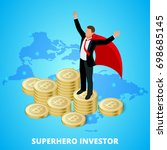 isometric superhero businessman ... | Shutterstock .eps vector #698685145
