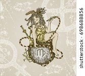 vintage sign of zodiac. virgo.... | Shutterstock .eps vector #698688856