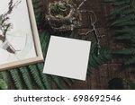 wedding invitation mock up and... | Shutterstock . vector #698692546