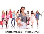 group of shopping girls over... | Shutterstock . vector #69869293