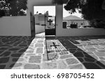 a gate to a greek orthodox... | Shutterstock . vector #698705452