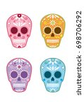 mexican day of the dead sugar... | Shutterstock .eps vector #698706292