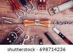 dog accessories on wooden... | Shutterstock . vector #698714236