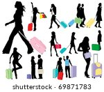traveling girls | Shutterstock .eps vector #69871783