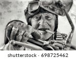 motorcycle rider old crazy face ... | Shutterstock . vector #698725462