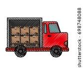 delivery cargo truck   Shutterstock .eps vector #698748088