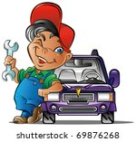 auto mechanical proud about his ... | Shutterstock .eps vector #69876268