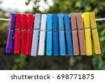 bunch of plastic clothespins | Shutterstock . vector #698771875