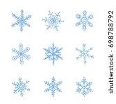 handdrawn cute snowflakes  ...   Shutterstock .eps vector #698788792