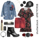 set of stylish clothes woman... | Shutterstock . vector #698795908