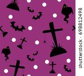 halloween seamless pattern with ... | Shutterstock .eps vector #698812498