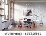 modern study room with  table... | Shutterstock . vector #698815552
