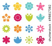 flower icon collection in flat... | Shutterstock .eps vector #698817382