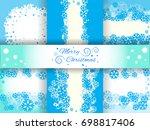set of bright blue background... | Shutterstock .eps vector #698817406