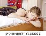 young blond woman with short... | Shutterstock . vector #69882031
