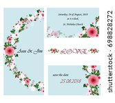 wedding invitation card suite... | Shutterstock .eps vector #698828272
