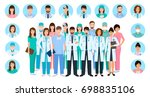 group of doctors and nurses... | Shutterstock . vector #698835106