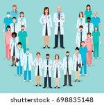 group of doctors and nurses... | Shutterstock . vector #698835148