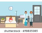 medical doctor and nurse with a ... | Shutterstock . vector #698835385