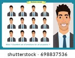 set of male facial emotions.... | Shutterstock .eps vector #698837536