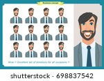 set of male facial emotions.... | Shutterstock .eps vector #698837542