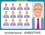 set of male facial emotions.old ... | Shutterstock .eps vector #698837545