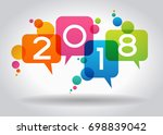 creative happy new year 2018... | Shutterstock .eps vector #698839042
