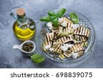 grilled eggplant and zucchini... | Shutterstock . vector #698839075