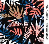 abstract floral seamless... | Shutterstock .eps vector #698840782