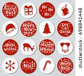 christmas new year gift round... | Shutterstock .eps vector #698841448