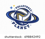 volleyball planet logo  emblem  ... | Shutterstock .eps vector #698842492