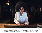 young black businesswoman... | Shutterstock . vector #698847322