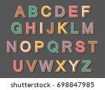 stylish vintage alphabet.... | Shutterstock .eps vector #698847985