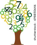 numeric values growing in tree | Shutterstock .eps vector #698850646